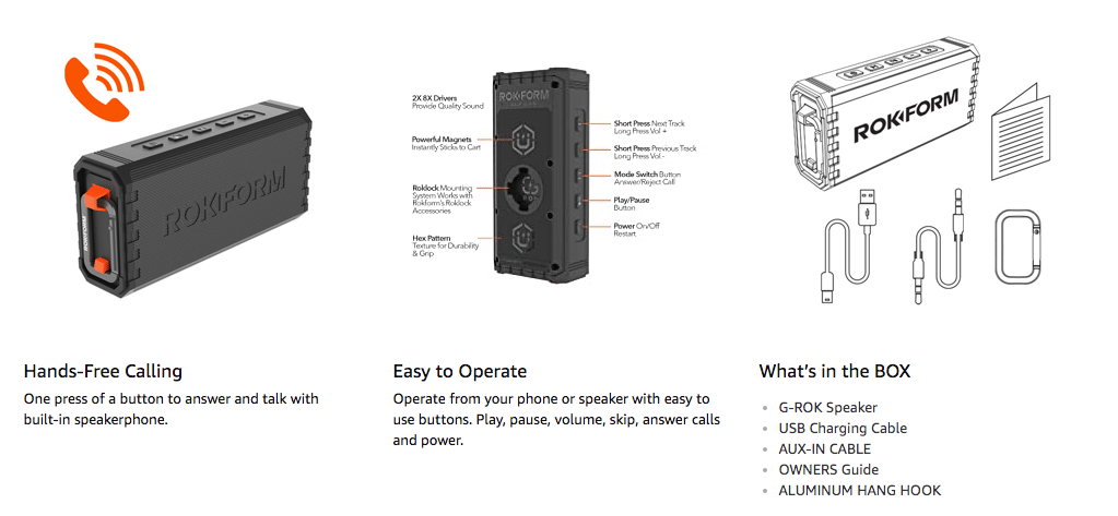 G-ROK Portable Wireless Golf Speaker 2020