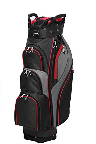 Majek Premium Men's Black Red Charcoal Golf Bag